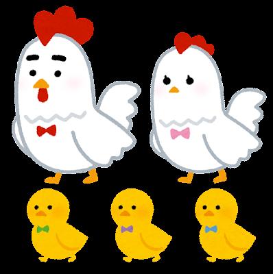 ニワトリの家族のイラスト(酉年・干支)