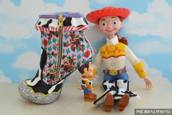 inner side of Woody ankle boot with zip sitting beside large jessie cowgirl doll