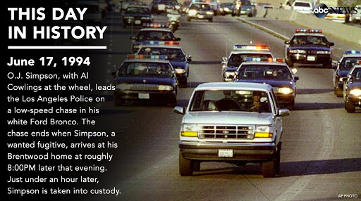 22 years ago today O.J. Simpson led the LA Police on a low-speed chase in a white Ford Bronco.