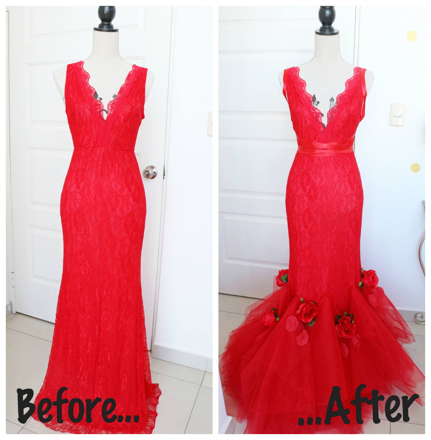 DIY Dress makeover inspired by the Enchanted Rose from Beauty and the Beast! Click through for full tutorial
