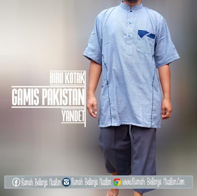 Baju Koko Pakistan Yandet Kotak Biru