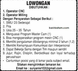 Lowongan Kerja Operator Mesin CNC dan Mesin Milling