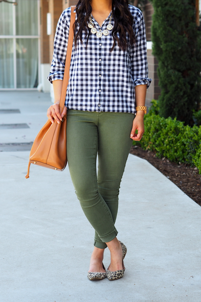 navy gingham + olive jeans + leopard flats