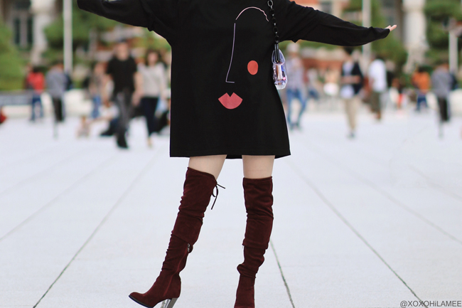 Japanese Fashion Blogger,MizuhoK,20191006OOTD, KANAHO= face oversize tee, GU mens= long tee, SHEIN= over the knee boots, Casselini=clear bag