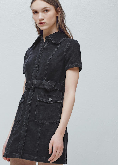 black denim shirt dress, mango denim shirt dress,