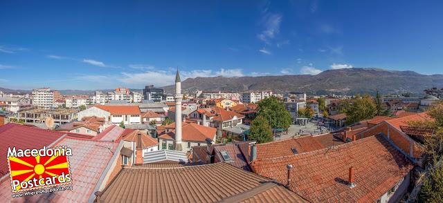 Поглед кон центарот на Охрид од дворот на црквата  - Света Богородица Каменско - Охрид (Успение на Пресвета Богородица)