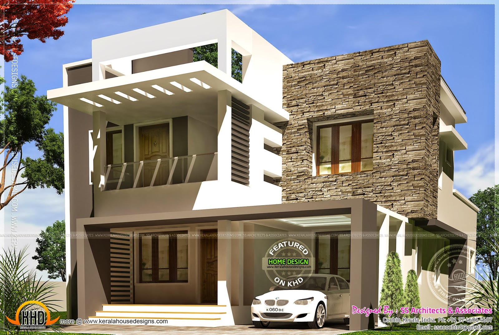 Beautiful contemporary villa in 1700 home kerala for Kerala style villa plans