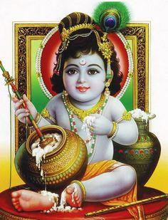 Shri Lord Krishna Makhan Chor Pic
