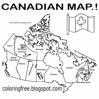 North American clipart Canadian city diagram coloring big printable map of Canada drawing with names