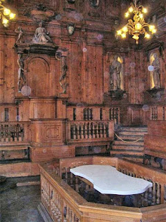 The anatomical theatre in the Archiginnasio at the University of Bologna