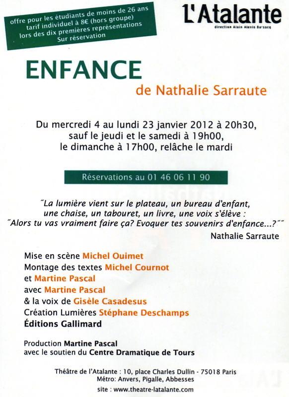 Critique De Theatre Enfance De Nathalie Sarraute