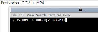 Pretvorba .OGV u .MP4 GTK-recordmydesktop postavke Ubuntu Linux trikovi