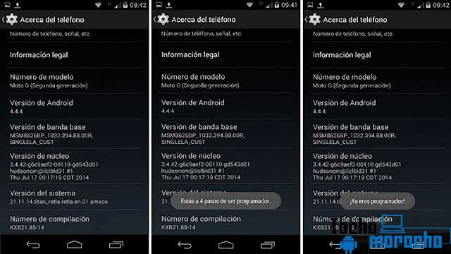 activar la Depuración USB en Android 4.2 y superior