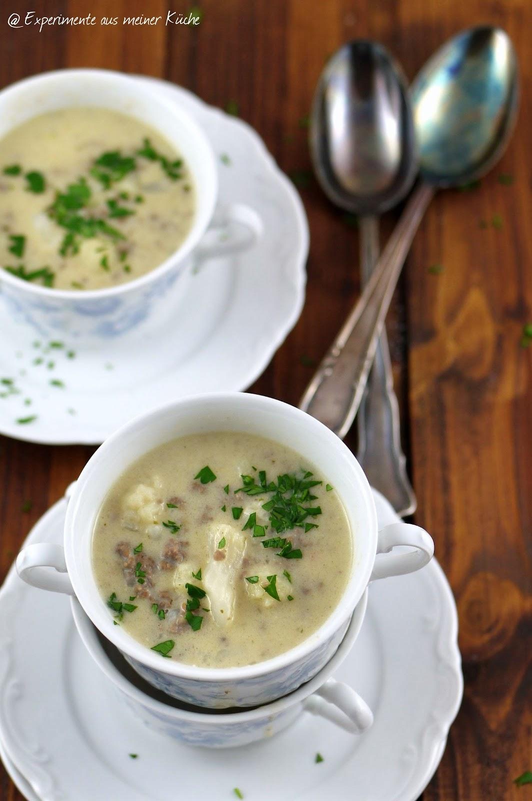 experimente aus meiner k che blumenkohl k se suppe mit hackfleisch. Black Bedroom Furniture Sets. Home Design Ideas