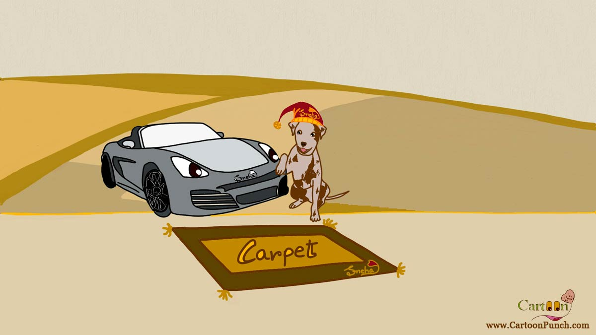 A brown carpet near black car pet dog in red woolen winter cap cartoon by Sneha