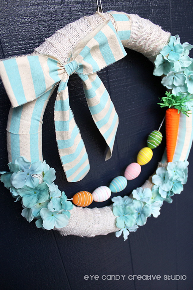 easter wreath, easter egg garland, carrot, burlap ribbon, front door