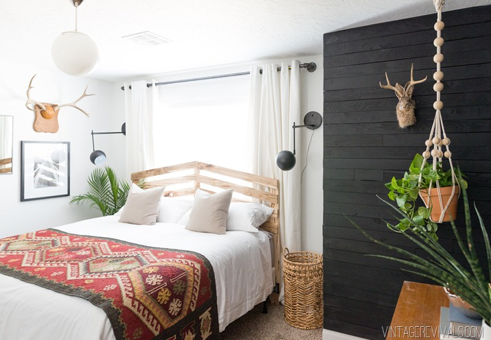 interior design black white boho scandinavian bedroom