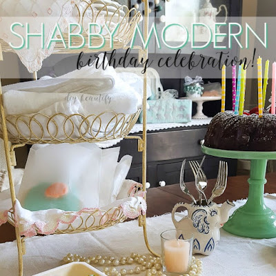 I used vintage decor items to style a shabby modern birthday party, as well as select items from Minted.com!