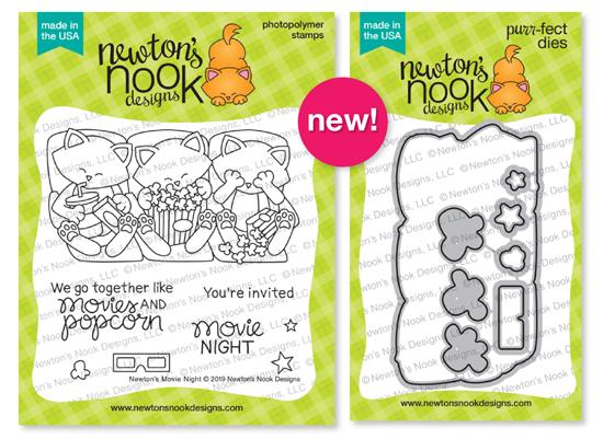 Newton's Movie Night   Cat and Movie Stamp Set by Newton's Nook Designs #newtonsnook