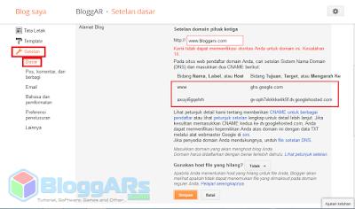 Manage DNS pada Domain TLD untuk Blogspot