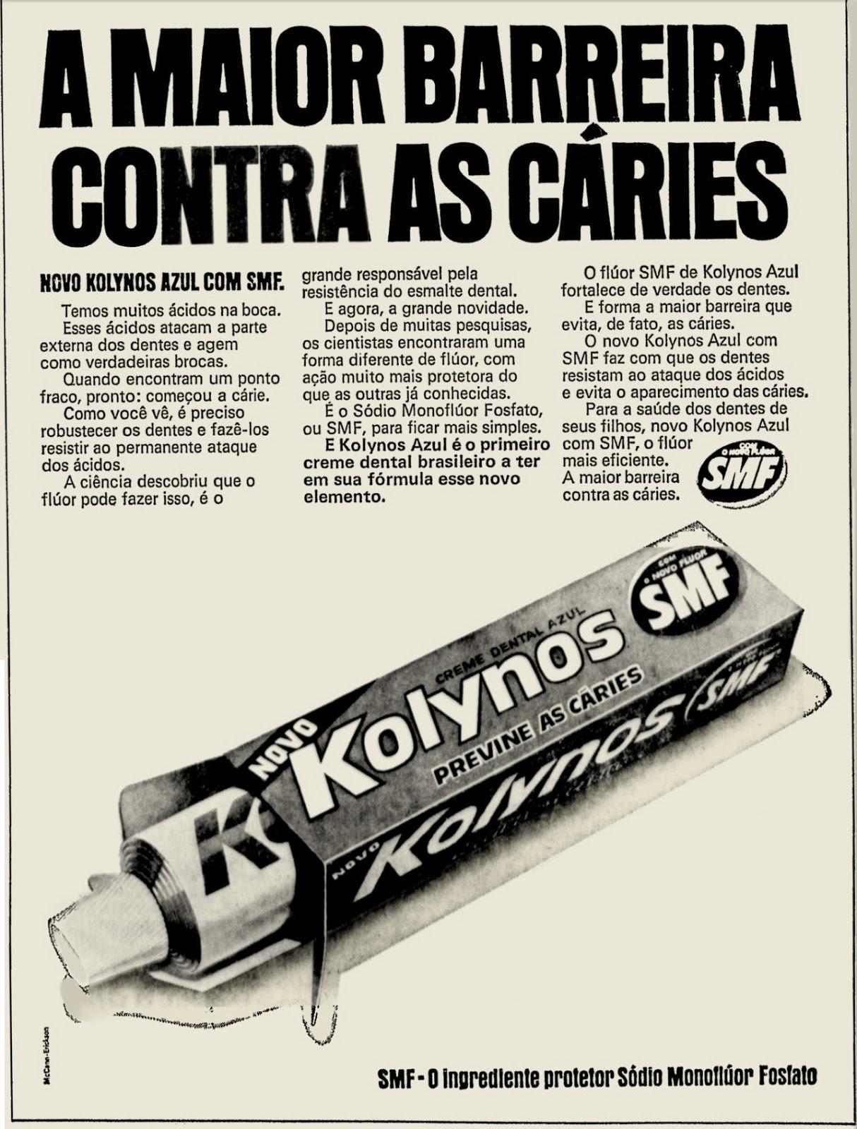 Campanha da Kolynos para promover sua nova linha de creme dental com proteção reforçada contra as cáries