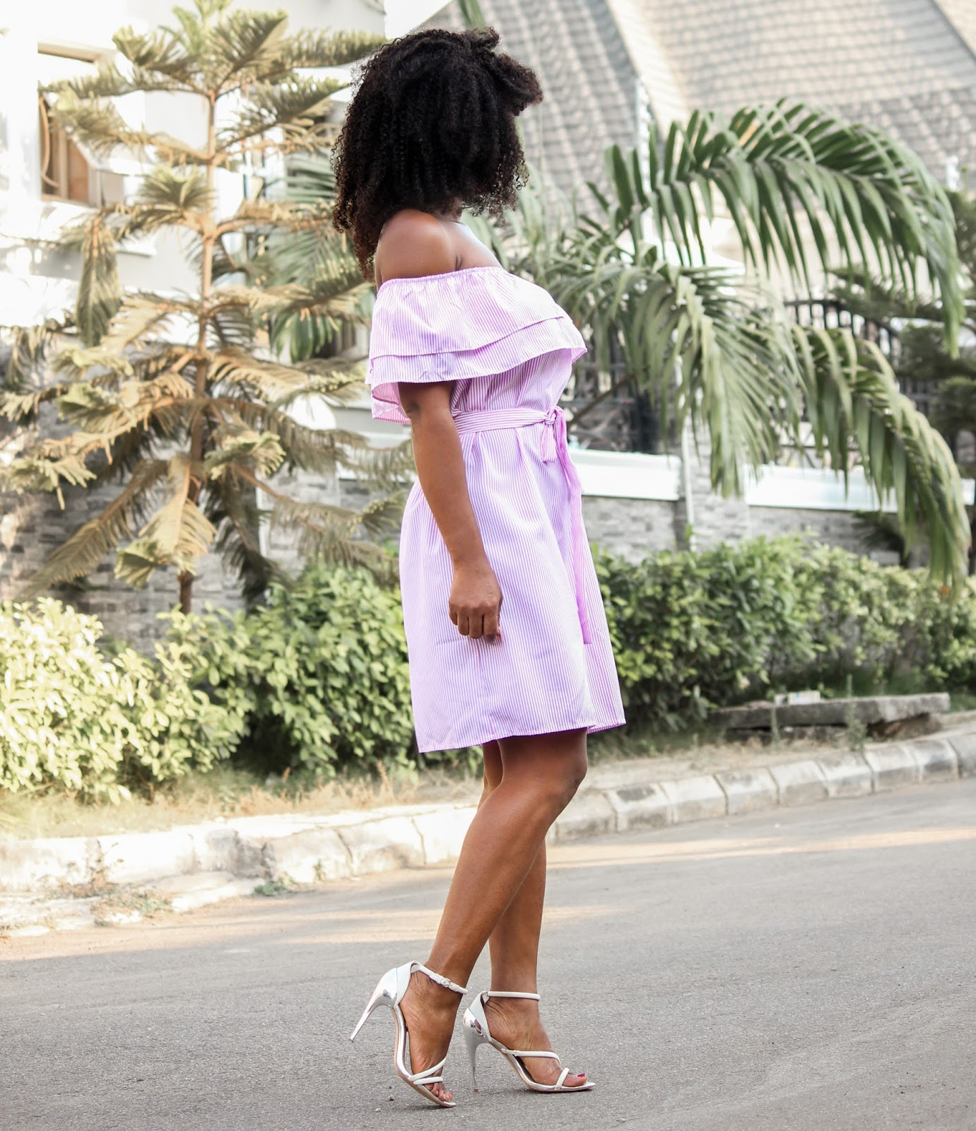 OFF SHOULDER RUFFLE DRESS - Pink Off-Shouder Ruffles Stripe Dress from Jumia with Zara white sandals
