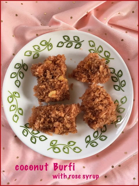 Coconut Burfi with Rose Syrup
