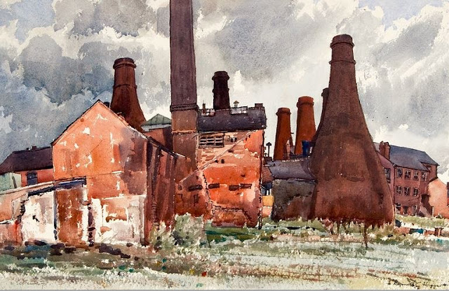 Gladstone Pottery Museum from what is now the car park Water colour by Reginald G Haggar