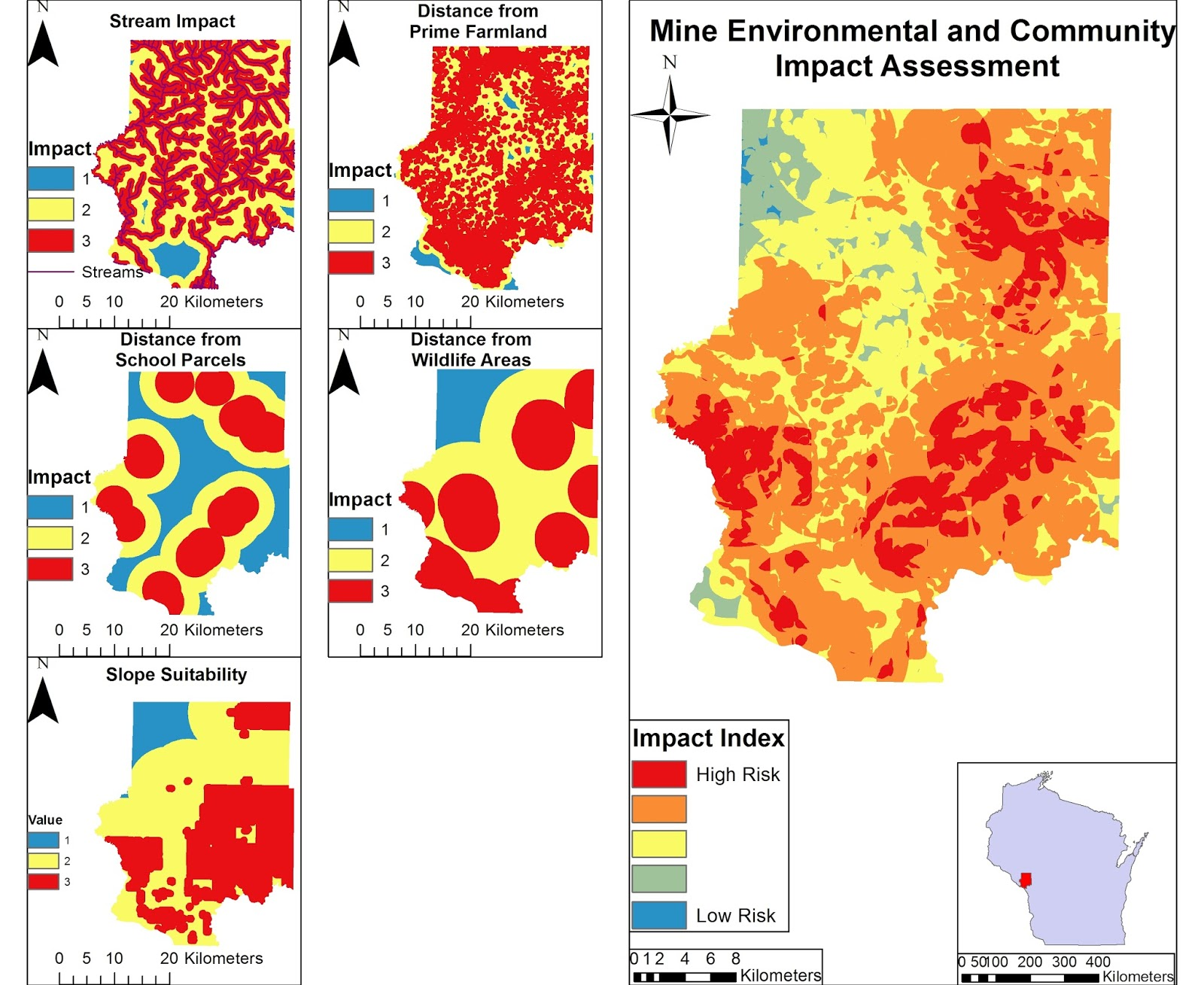 figure 4 a map showing the risk assessment and impact index of potential frac sand mines based of several factors and the total impact index of these
