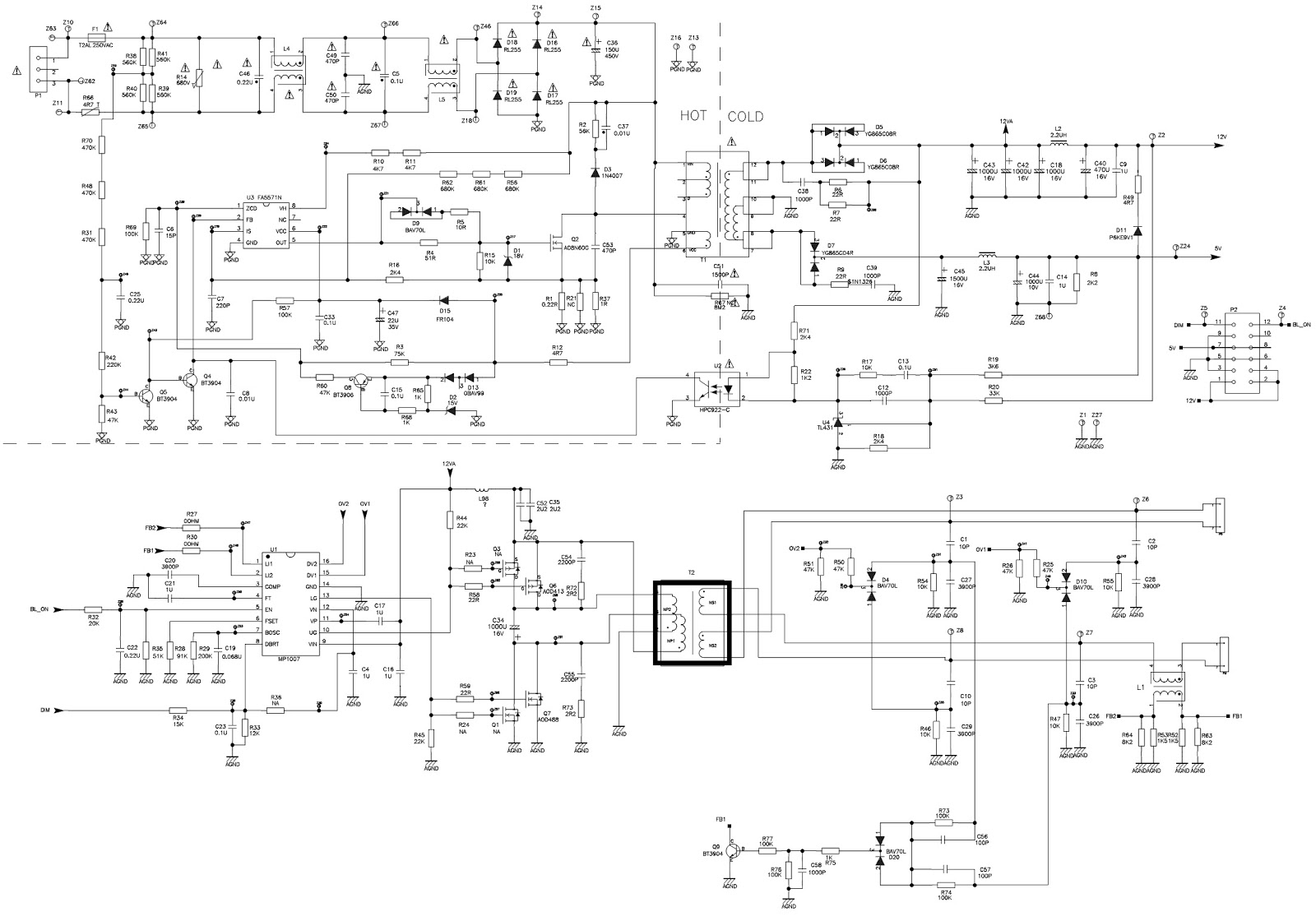 small resolution of rca lcd tv smps schematic