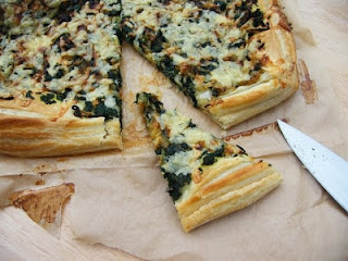 Spinach & Onion Puff Tart on baking paper