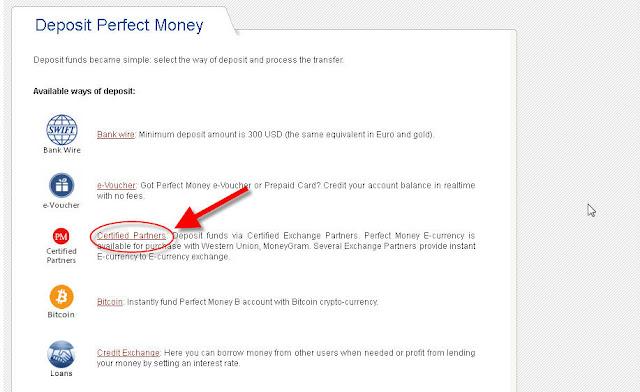 hướng dẫn nạp rút tiền trong perfect money bước 1