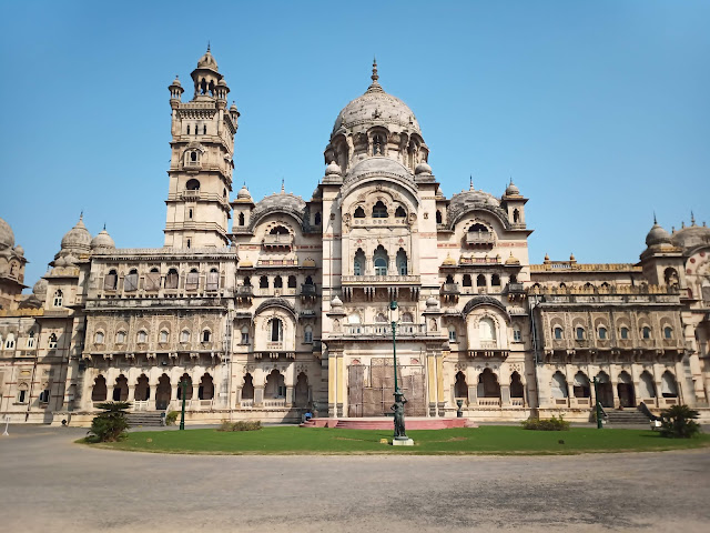 View of rear of Lakshmi Vilas Palace building with turrets and domed, Indo-Gothic architecture in Vadodara