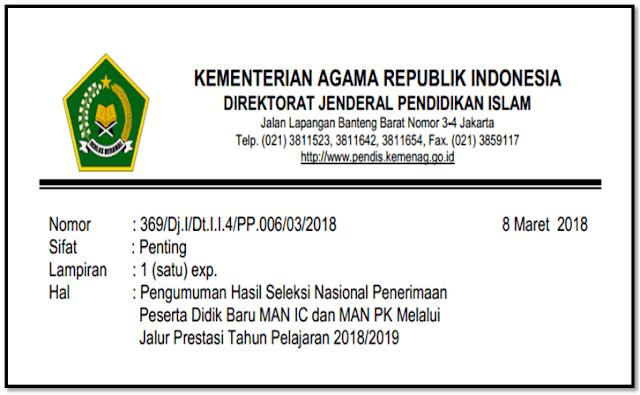 Download Pengumuman Hsil Seleksi Nasional PPDB MAN Insan Cendekia 2018