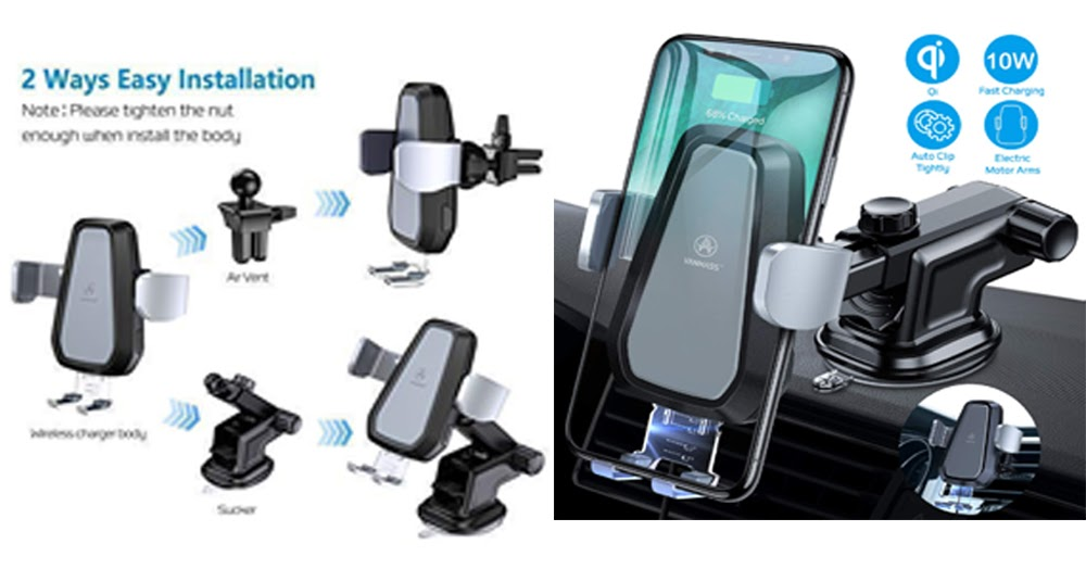 Wireless Car Charger Mount,JIALEBI Automatic Clamping Qi 10W 7.5W Fast Charging 5W Car Mount Windshield Dashboard Air Vent Phone Holder Compatible with iPhone Xs Max XR 8 Samsung S10 S9 S8 Note 9