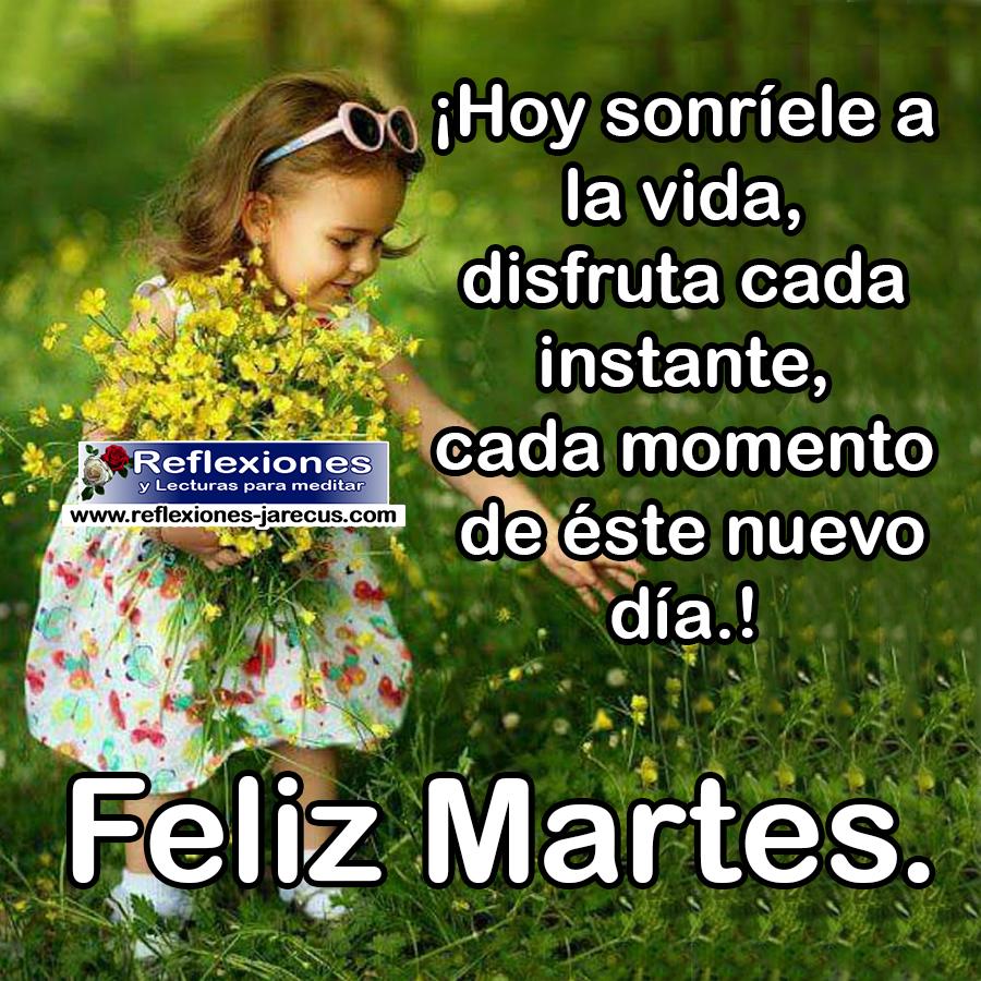 Hoy sonríele a la vida, disfruta cada instante, cada momento de éste nuevo día. Feliz Martes.