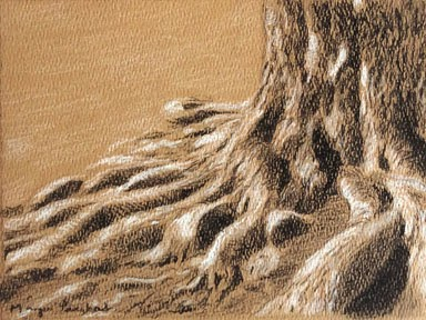 Charcoal and soft pastel work on hand made paper. by Manju Panchal