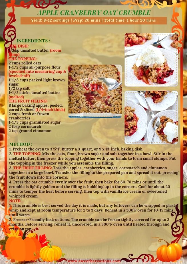APPLE CRANBERRY OAT CRUMBLE RECIPE