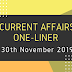 Current Affairs One-Liner: 30th November 2019