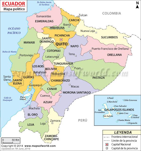 mapa del ecuador por provincias