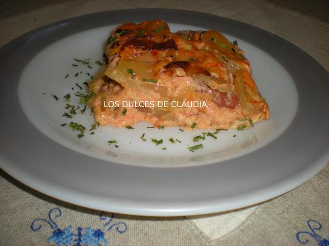 pastel de papa con salchichas