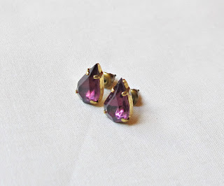 image earrings ear stud studs two cheeky monkeys vintage glass amethyst purple handmade teardrop pear