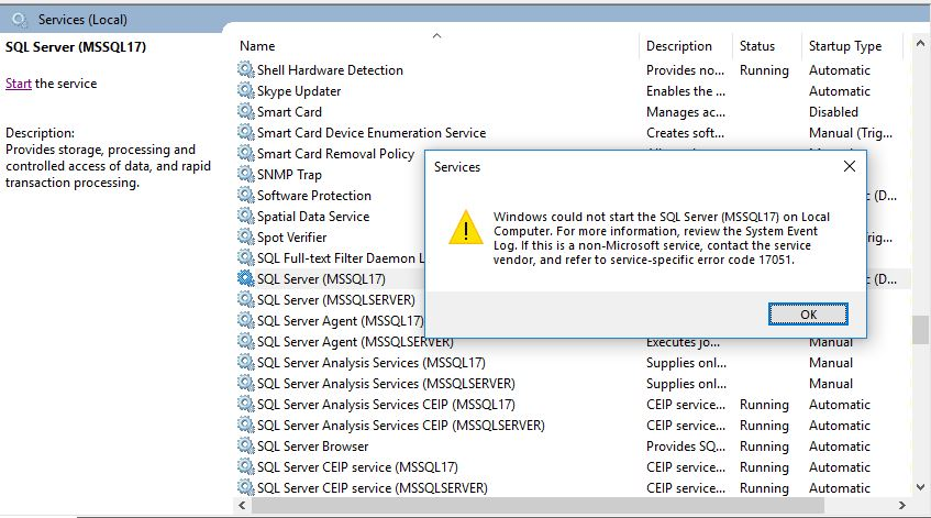 All about SQLServer: Error code 17051 while starting SQL