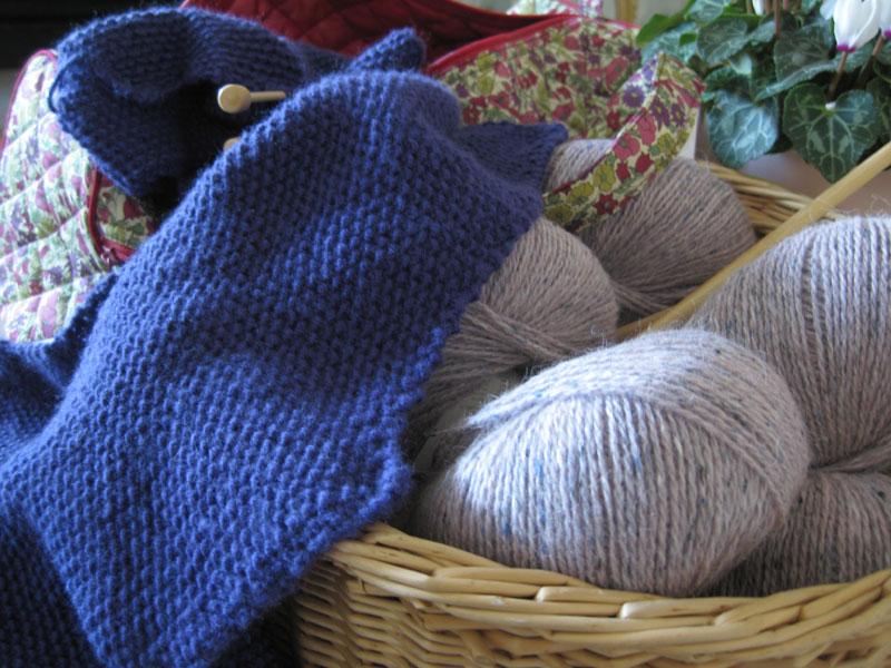 Blue knitting