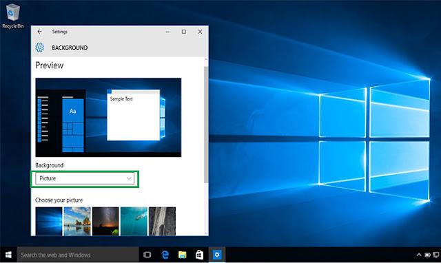 pengaturan background Windows 10