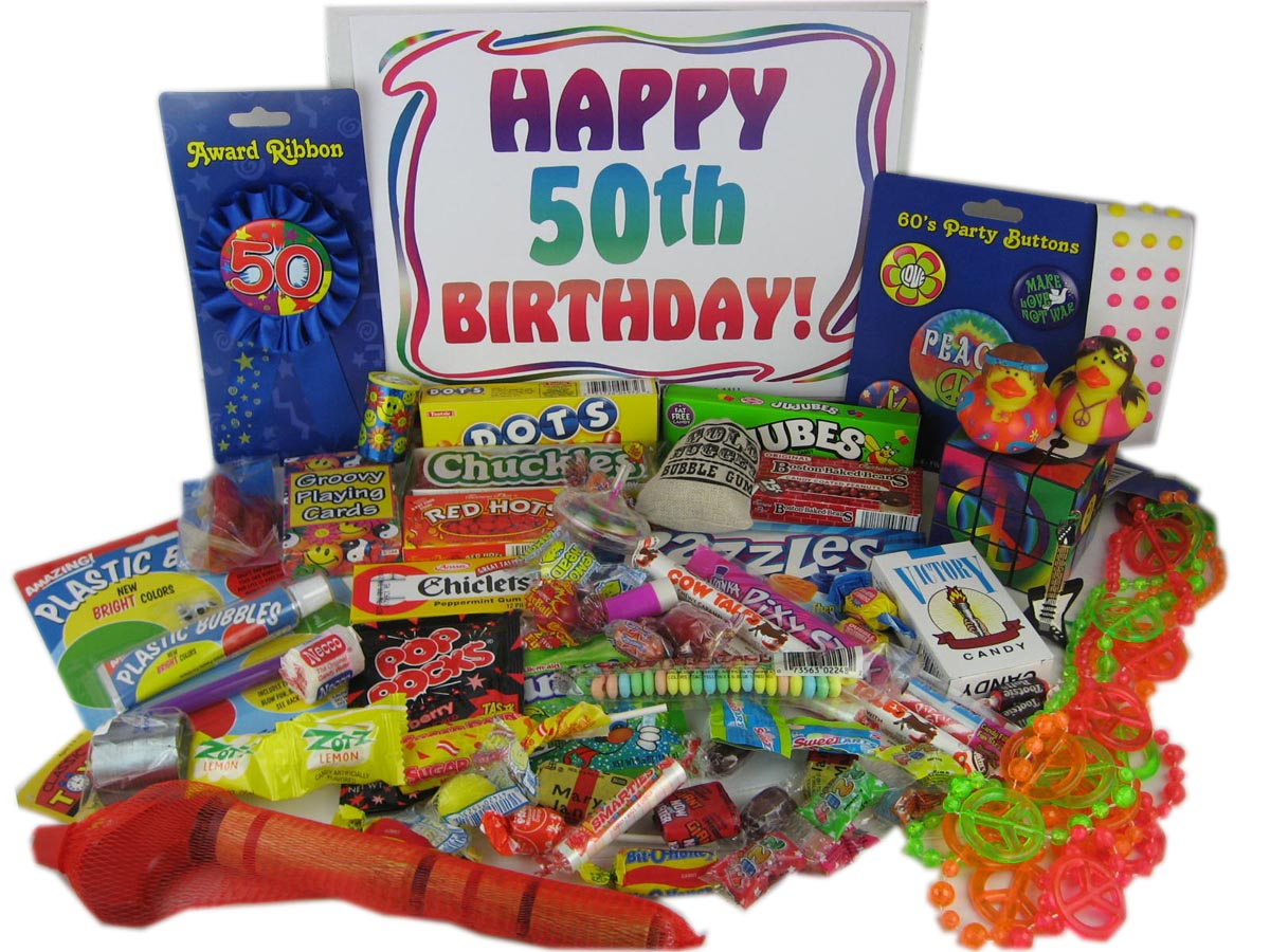 50th Birthday Retro Candy And Toys Gift Basket