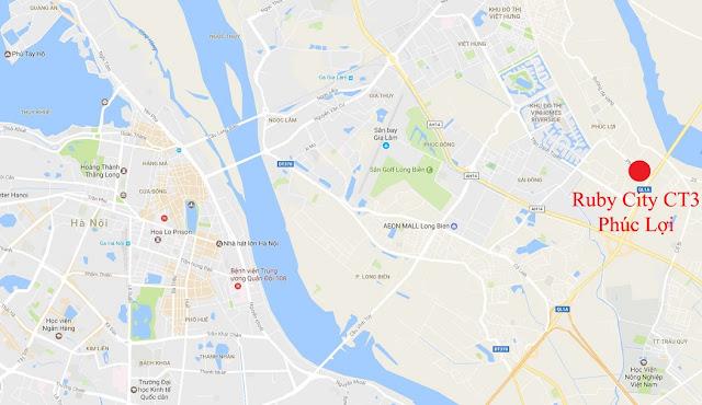 Vị trí đắc địa của dự án Ruby City Ct3