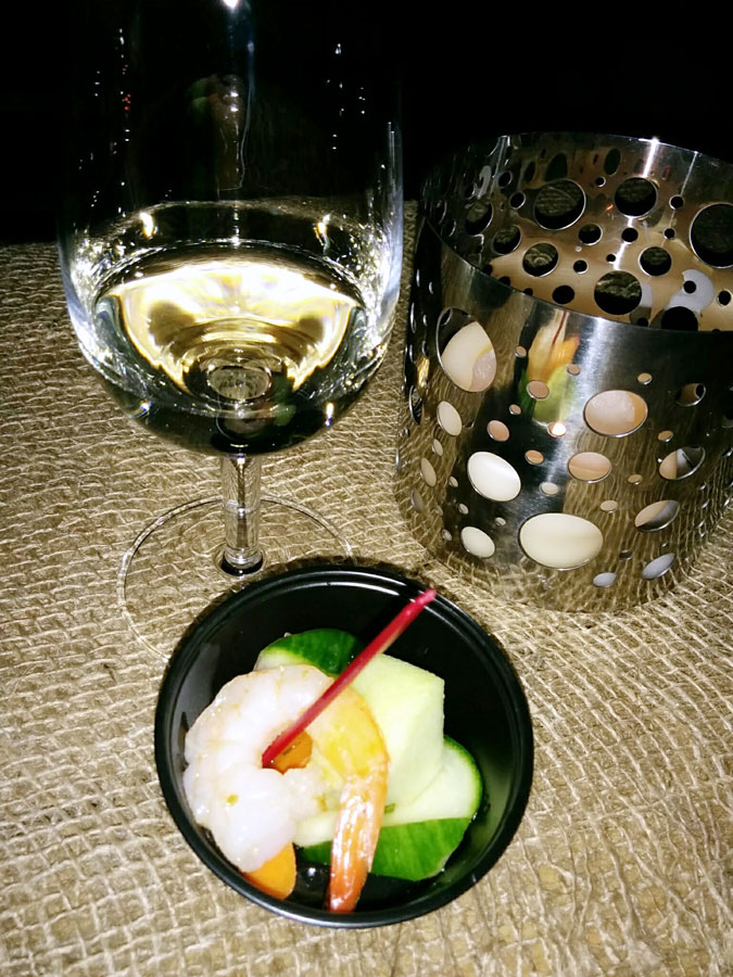 Nomad at Hinterbrook Traveller's Riesling 2016 (88 pts) with grilled shrimp with pickled garden root vegetables, spicy citrus, lime and sweet basil