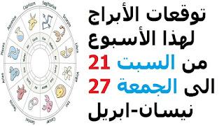 توقعات الأبراج لهذا الأسبوع من السبت 21 الى الجمعة 27 نيسان-ابريل 2018