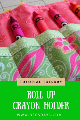 Homemade Fabric Crayon Roll Up Storage Holder Sewing Project